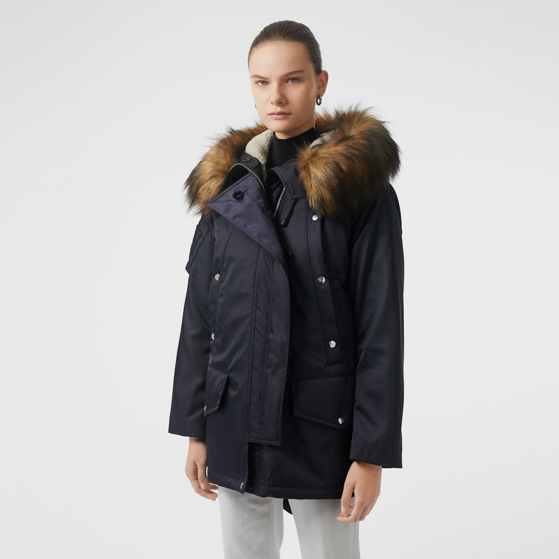 Detachable Faux Fur Trim Hood Parka in Dark Navy - Women | Burberry Australia - gallery image 6