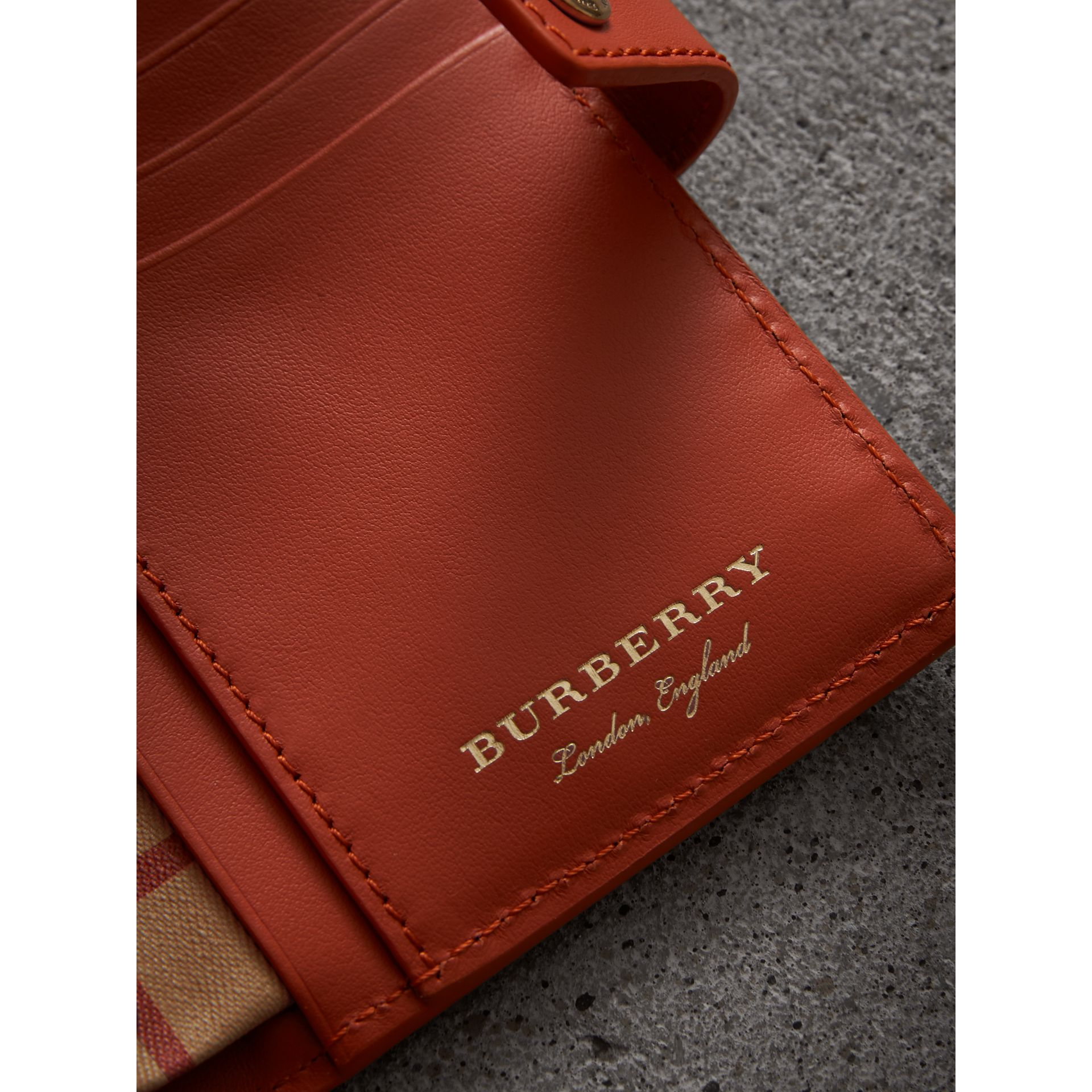 Vintage Check and Leather Folding Wallet in Clementine - Women | Burberry Singapore - gallery image 1