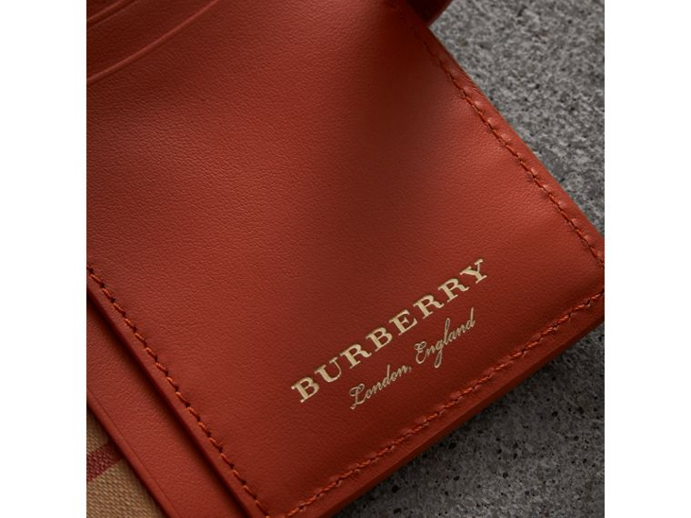 Vintage Check and Leather Folding Wallet in Clementine - Women | Burberry - cell image 1