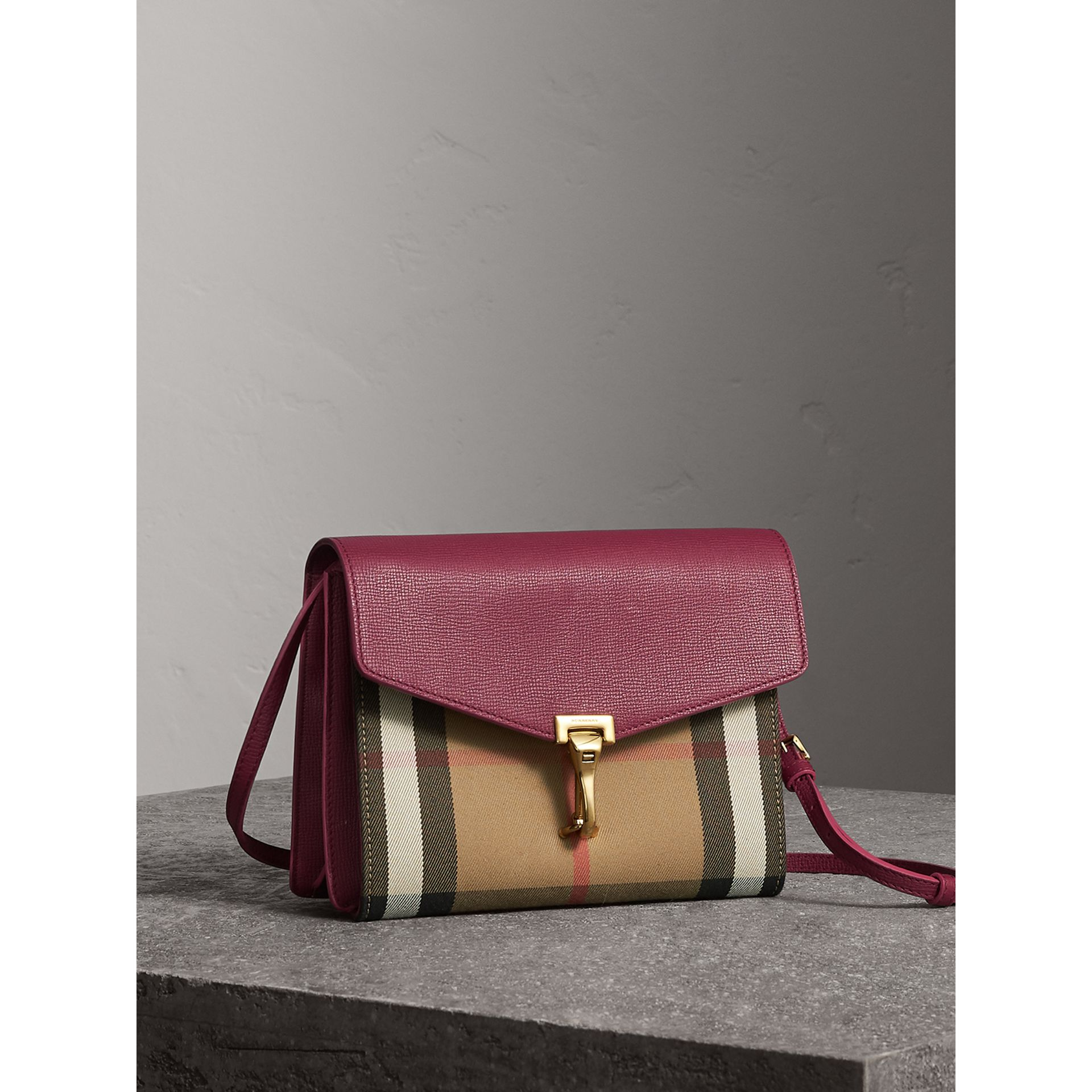 Small Leather and House Check Crossbody Bag in Berry Pink - Women | Burberry - gallery image 7