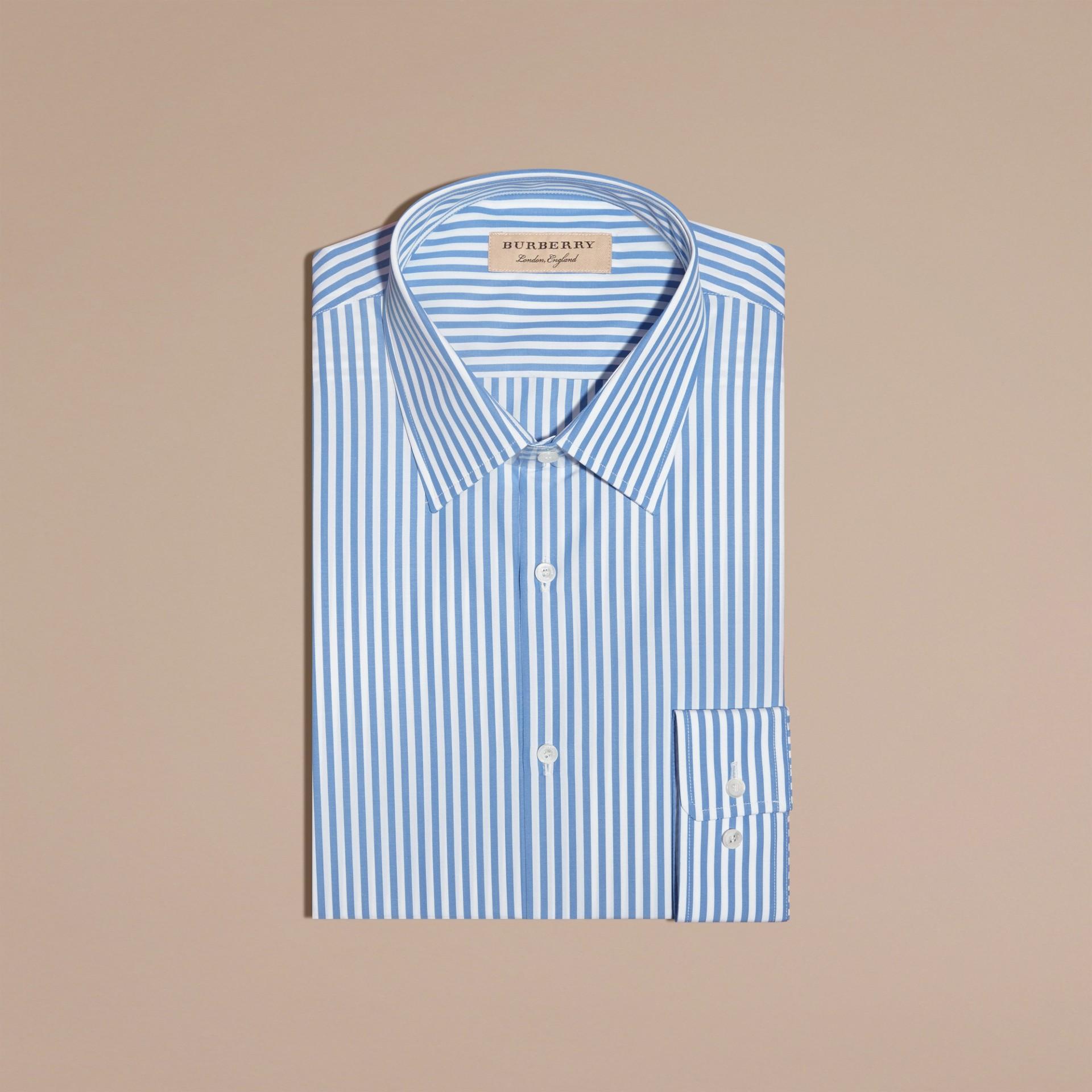 Blu medio Camicia sfiancata a righe in popeline di cotone Blu Medio - immagine della galleria 4