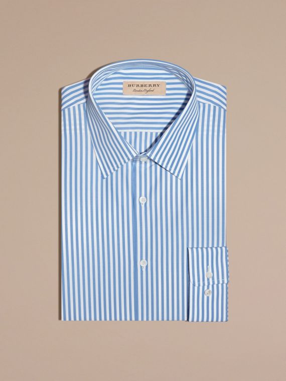 Mid blue Slim Fit Striped Cotton Poplin Shirt Mid Blue - cell image 3