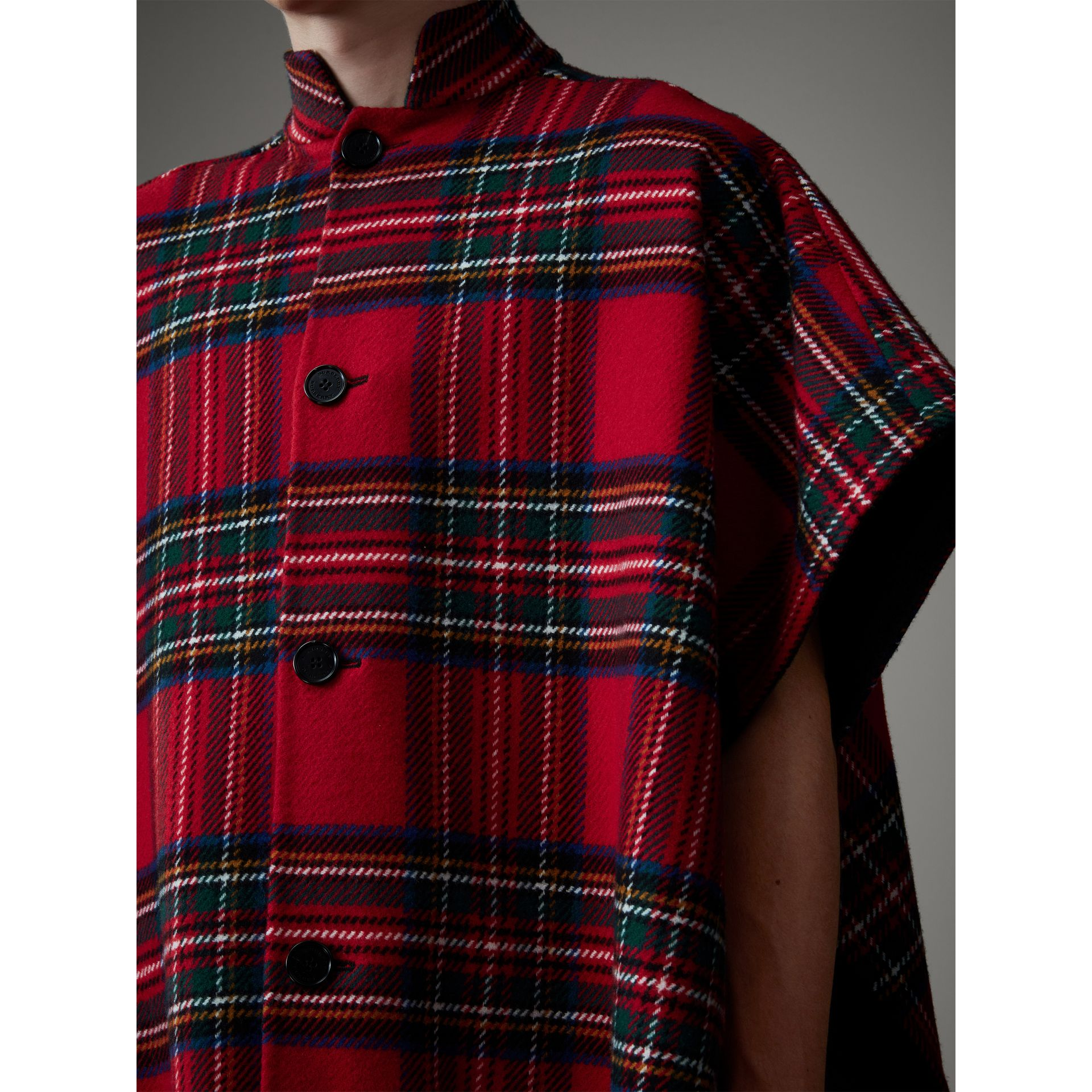 Reversible Tartan Wool Cashmere Poncho in Bright Red/dark Grey - Men | Burberry - gallery image 2