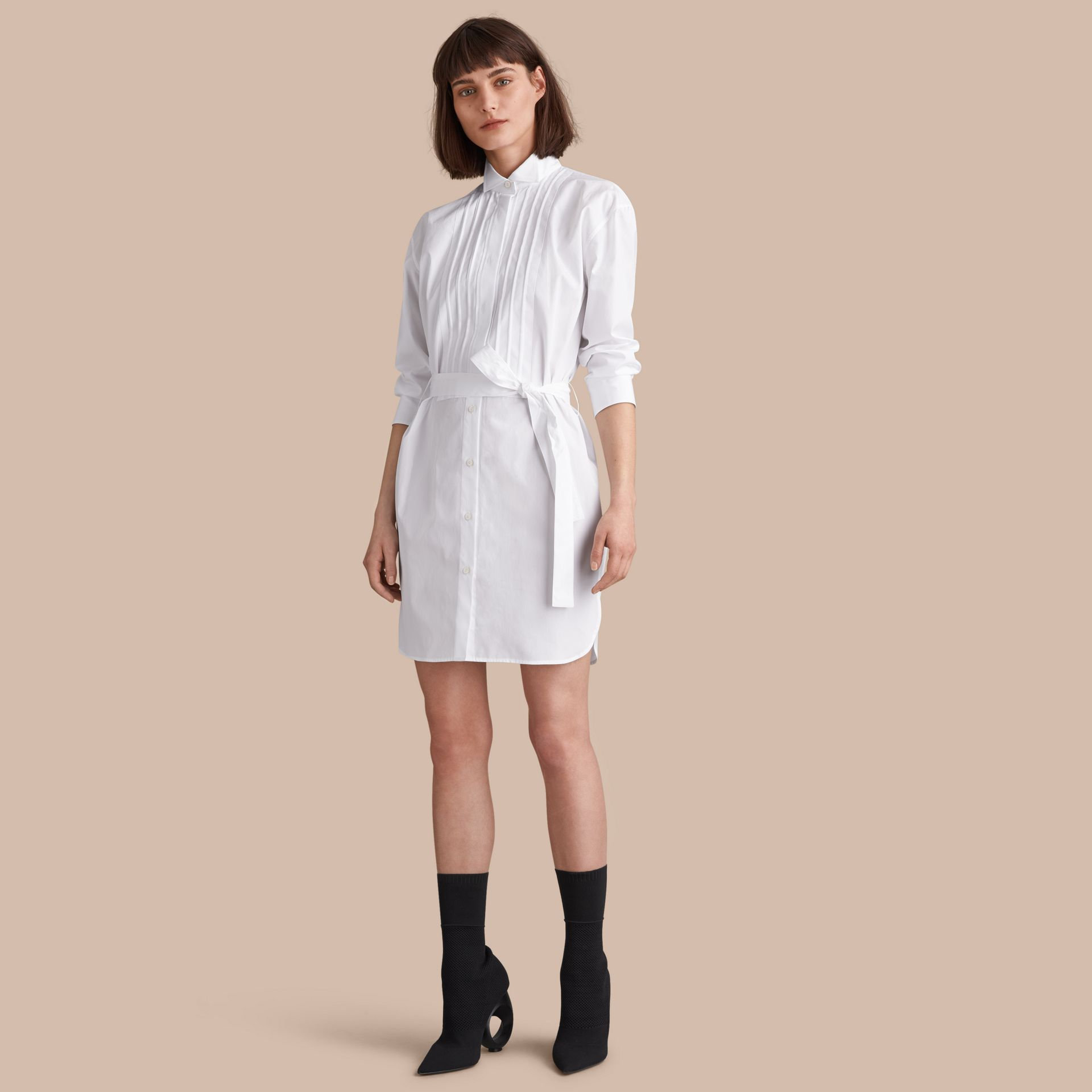 Tie-waist Wing Collar Cotton Poplin Shirt Dress in White - Women | Burberry - gallery image 0
