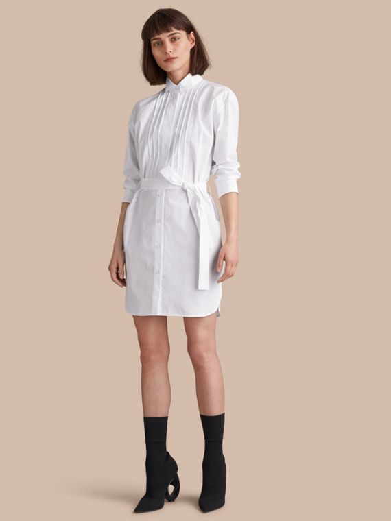 Tie-waist Wing Collar Cotton Poplin Shirt Dress