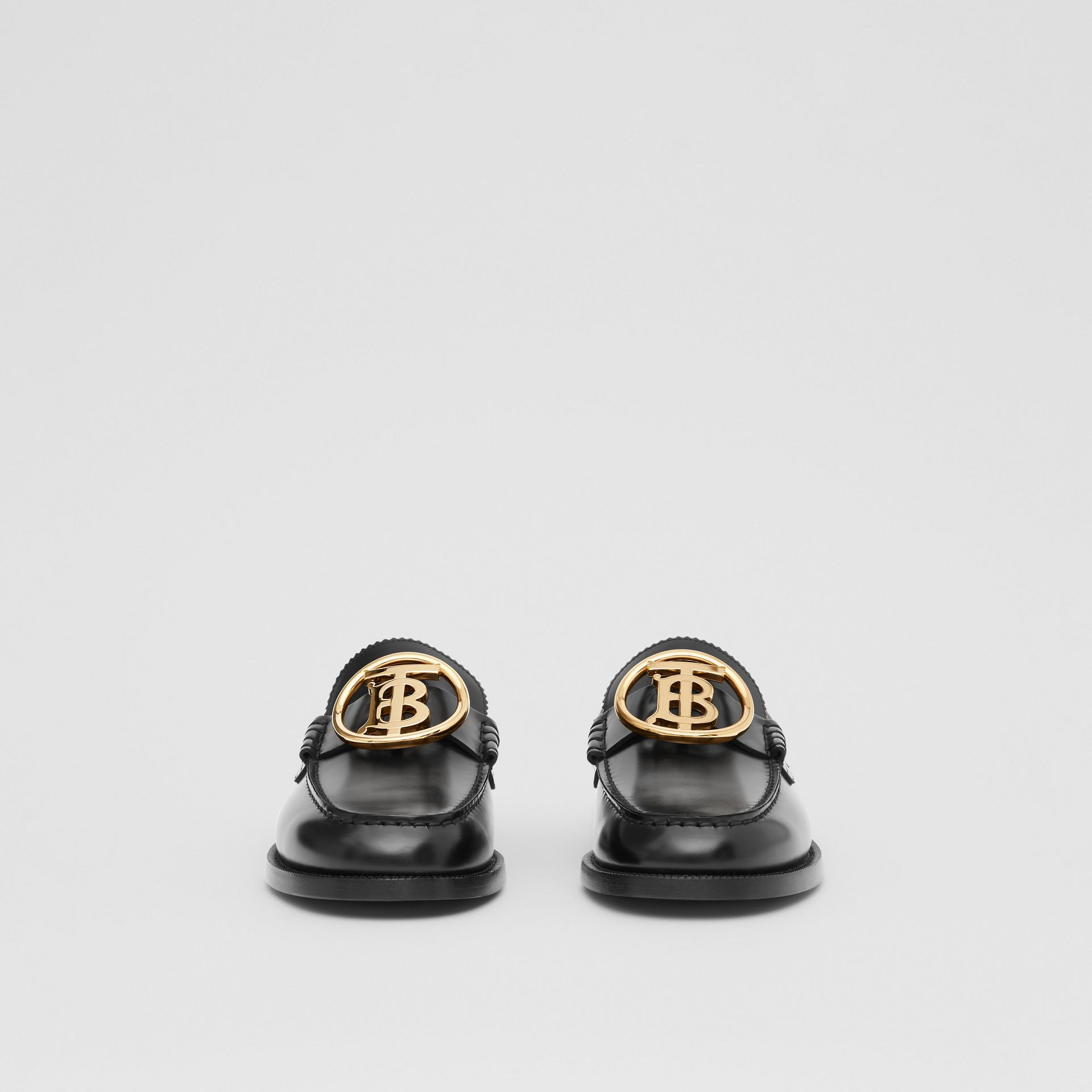 Monogram Motif Leather Loafers in Black - Men | Burberry - gallery image 2