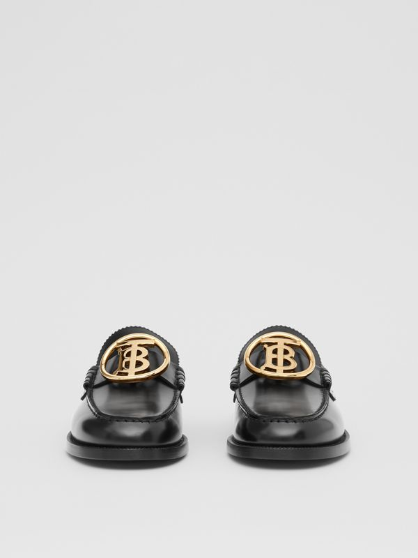 Monogram Motif Leather Loafers in Black - Men | Burberry - cell image 2