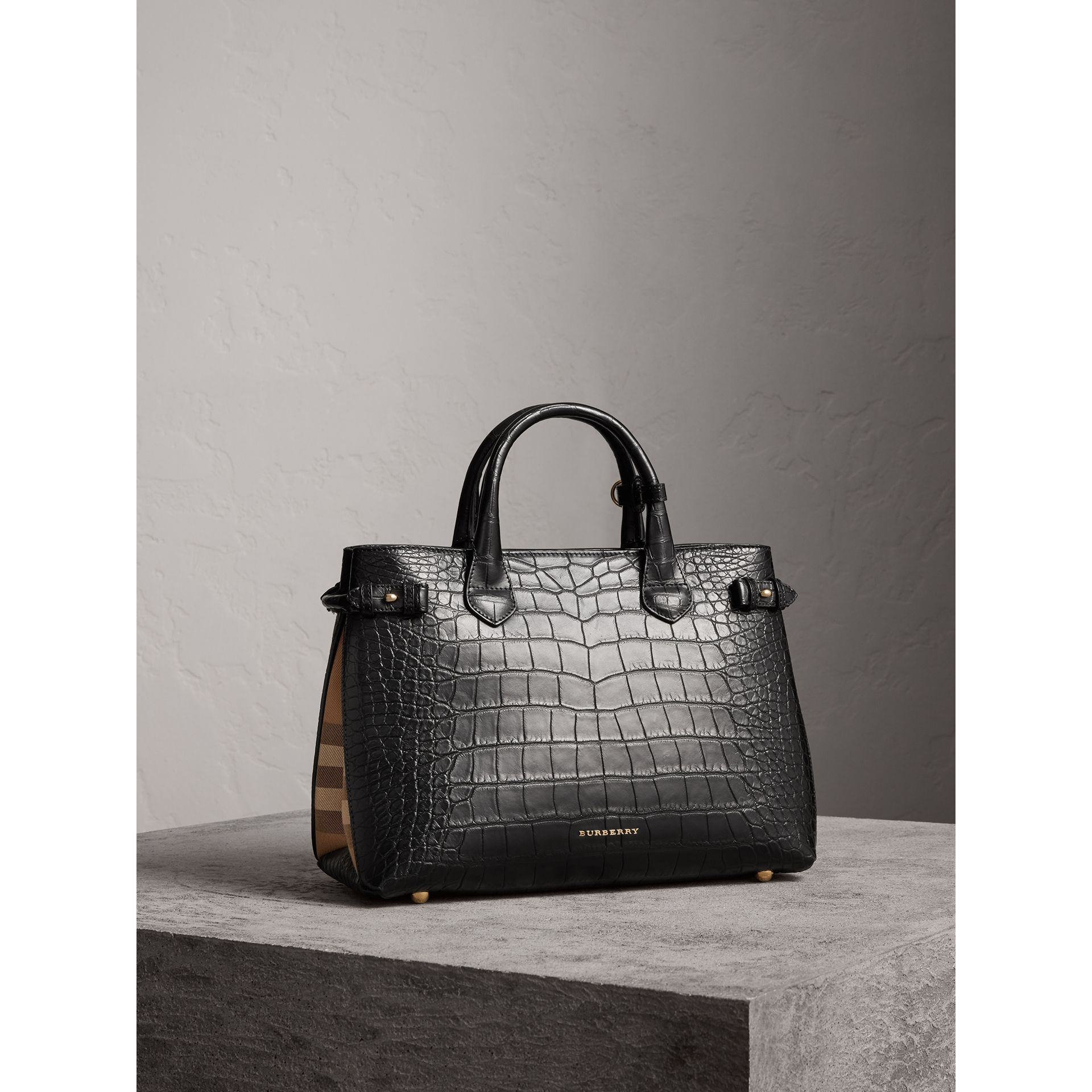 Sac The Banner medium en alligator - Femme | Burberry - photo de la galerie 1