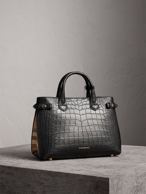 Sac The Banner medium en alligator - Femme | Burberry