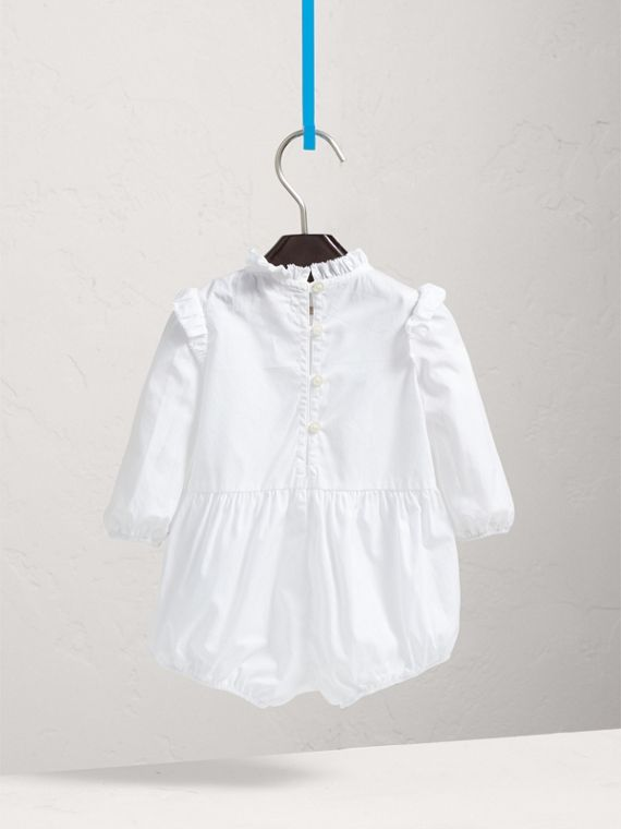 Ruffled Collar Cotton Bodysuit in White | Burberry Singapore - cell image 3