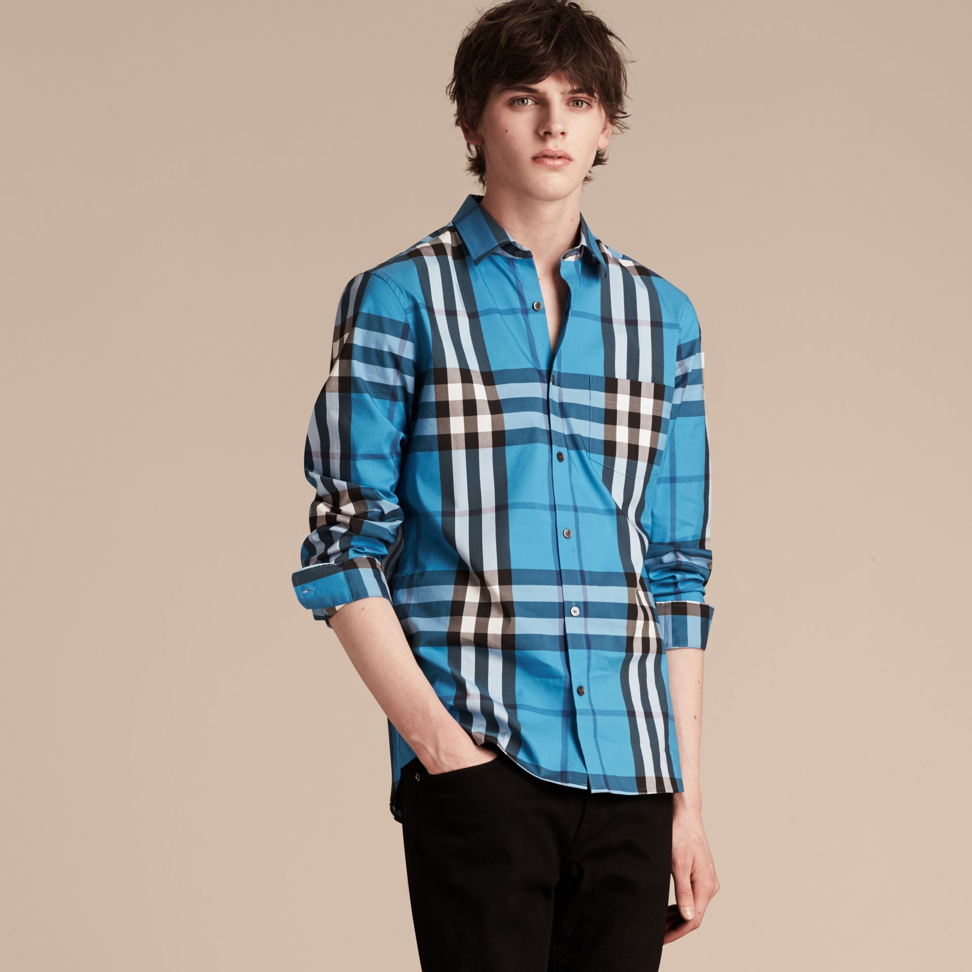 Check Stretch Cotton Shirt in Bright Blue - Men | Burberry - gallery image 6