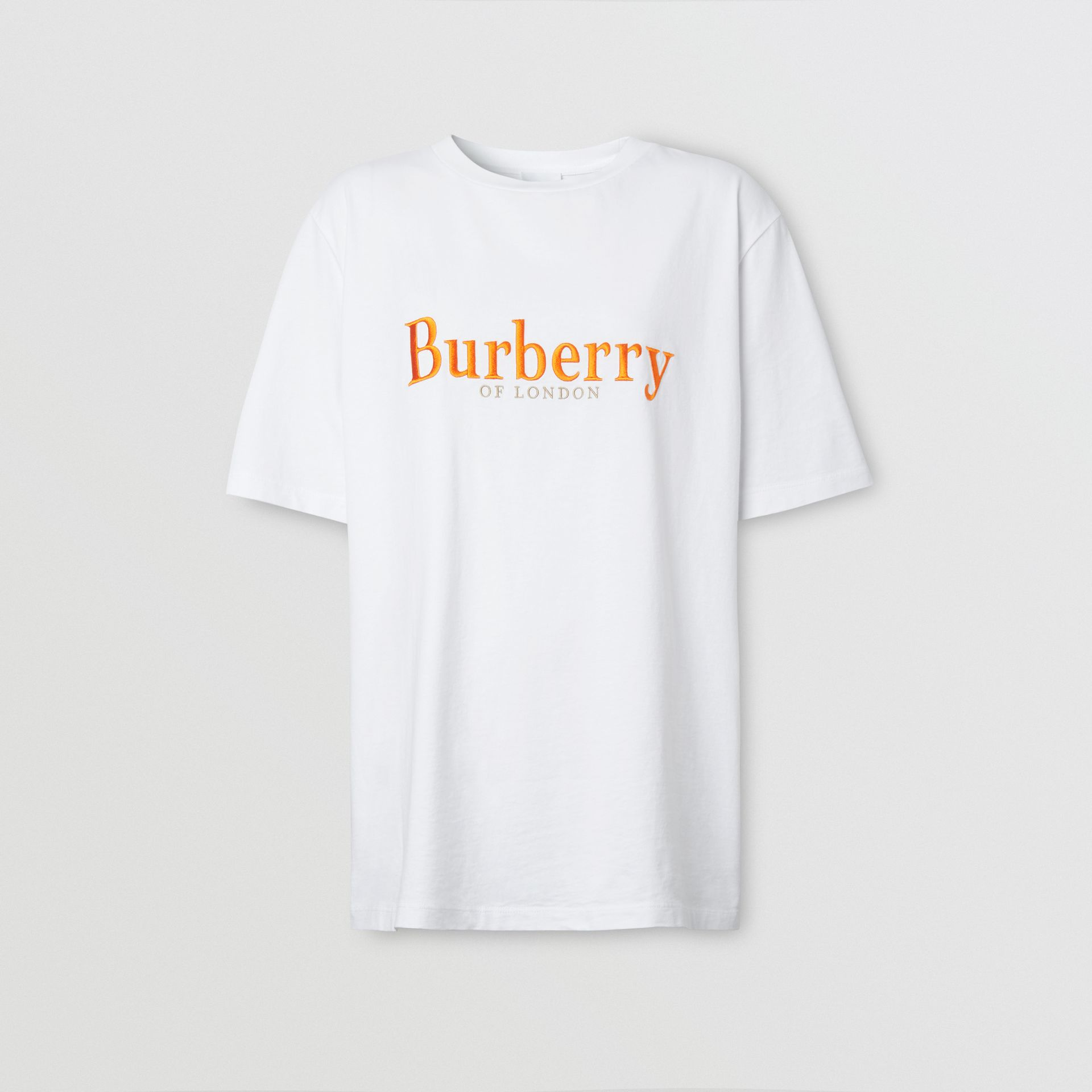 Embroidered Archive Logo Cotton T-shirt in White - Women | Burberry - gallery image 3