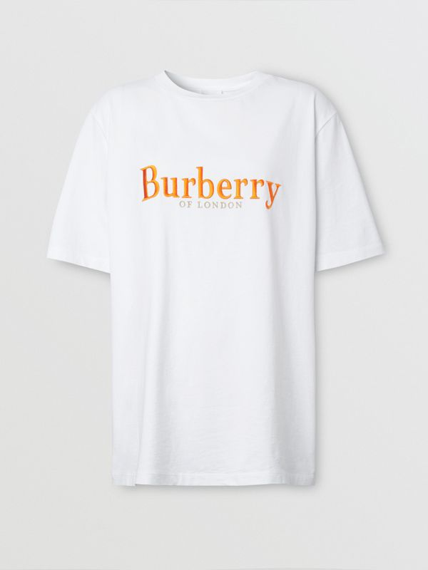 Embroidered Archive Logo Cotton T-shirt in White - Women | Burberry - cell image 3