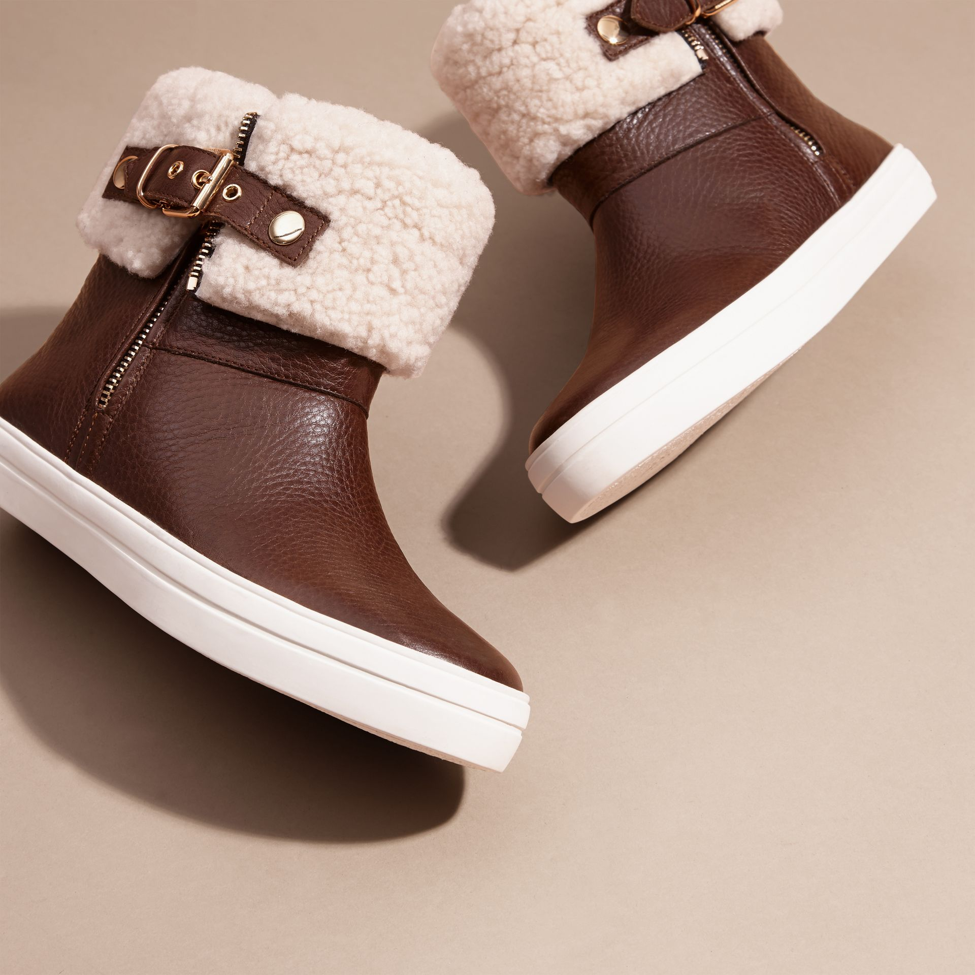 Shearling-lined Leather Ankle Boots - gallery image 3