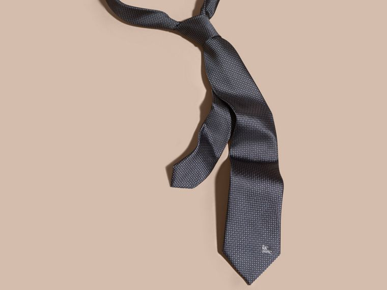Mid grey Modern Cut Patterned Silk Tie Mid Grey - cell image 2