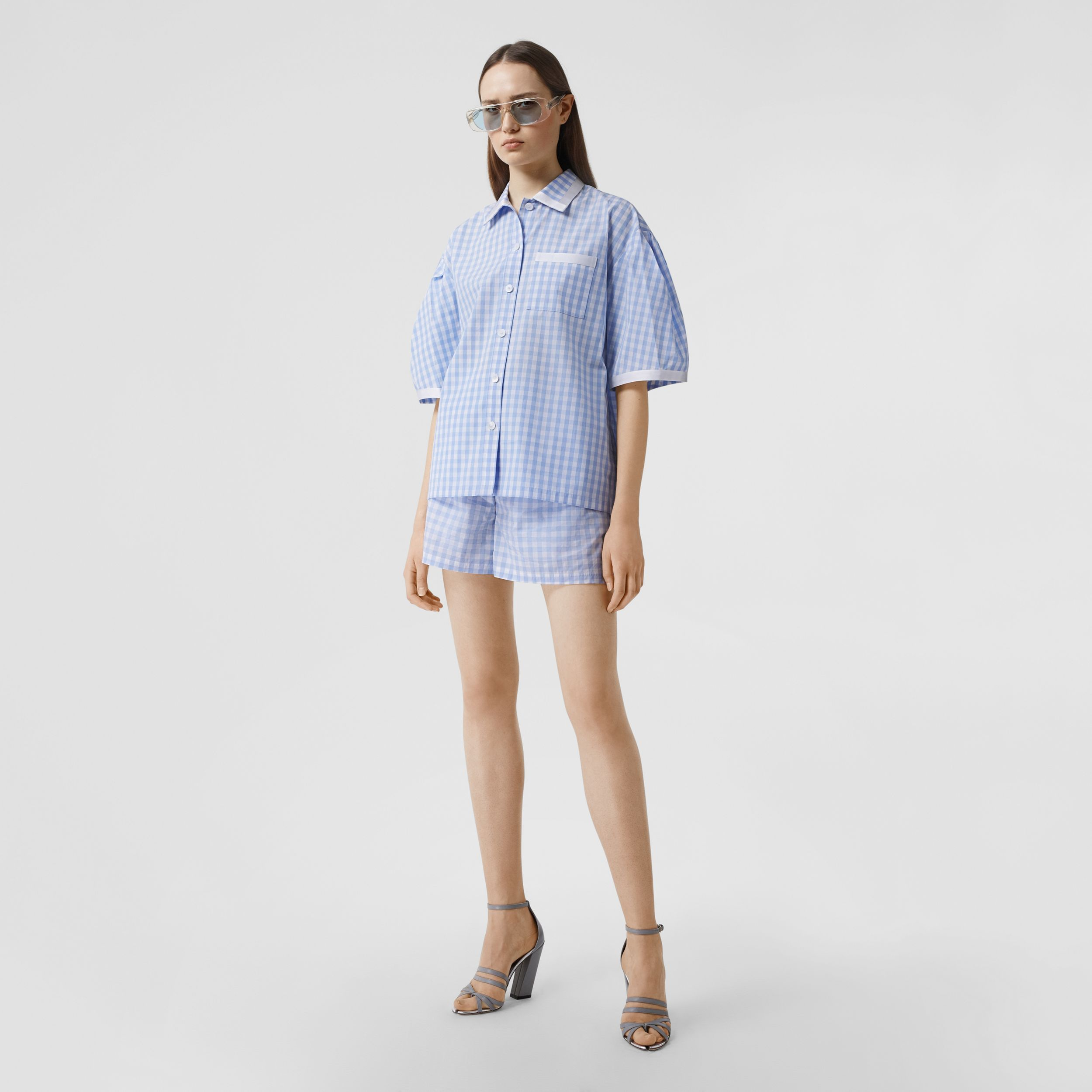 Puff-sleeve Gingham Cotton Oversized Shirt in Pale Blue - Women | Burberry - 1
