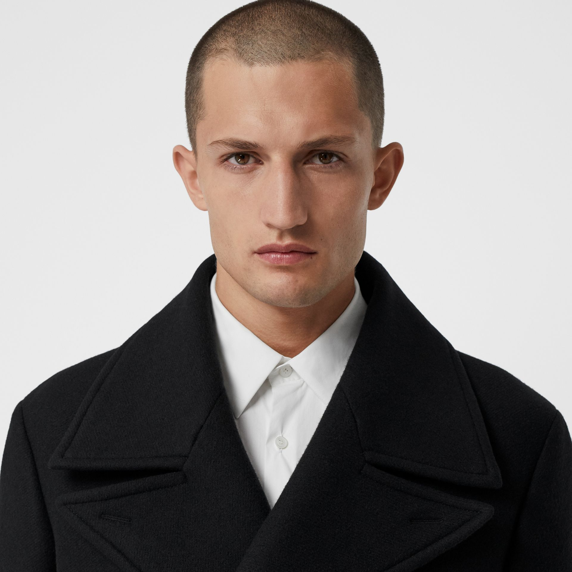 Detachable Shearling Collar Cashmere Chesterfield in Black - Men | Burberry - gallery image 1