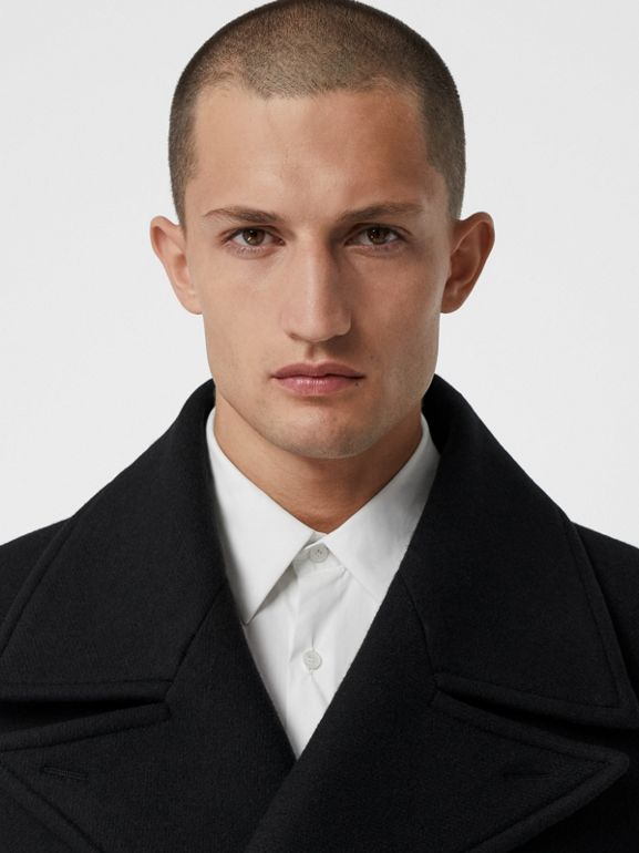 Detachable Shearling Collar Cashmere Chesterfield in Black - Men | Burberry - cell image 1