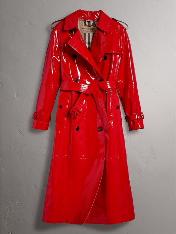 Raglan-sleeve Patent Lambskin Trench Coat in Parade Red - Women | Burberry United Kingdom - cell image 3
