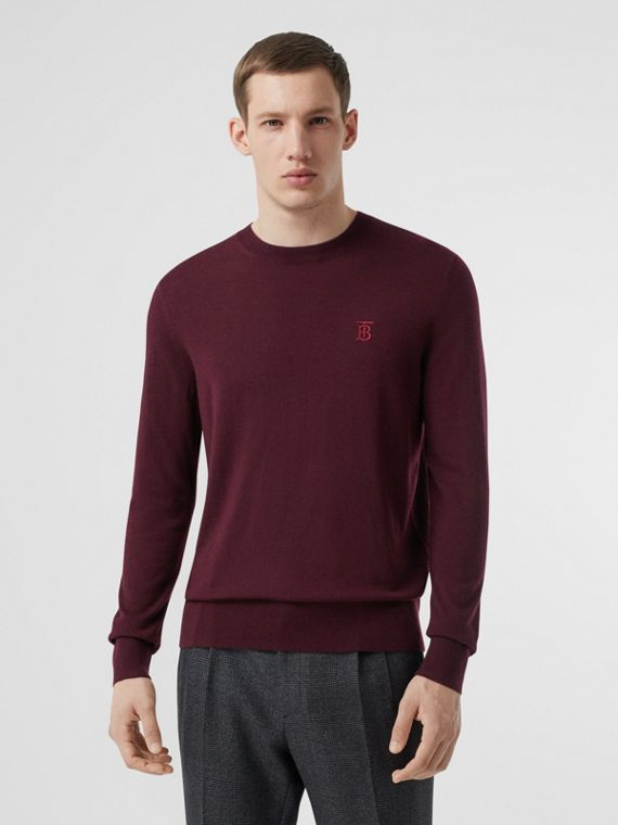Monogram Motif Cashmere Sweater in Burgundy