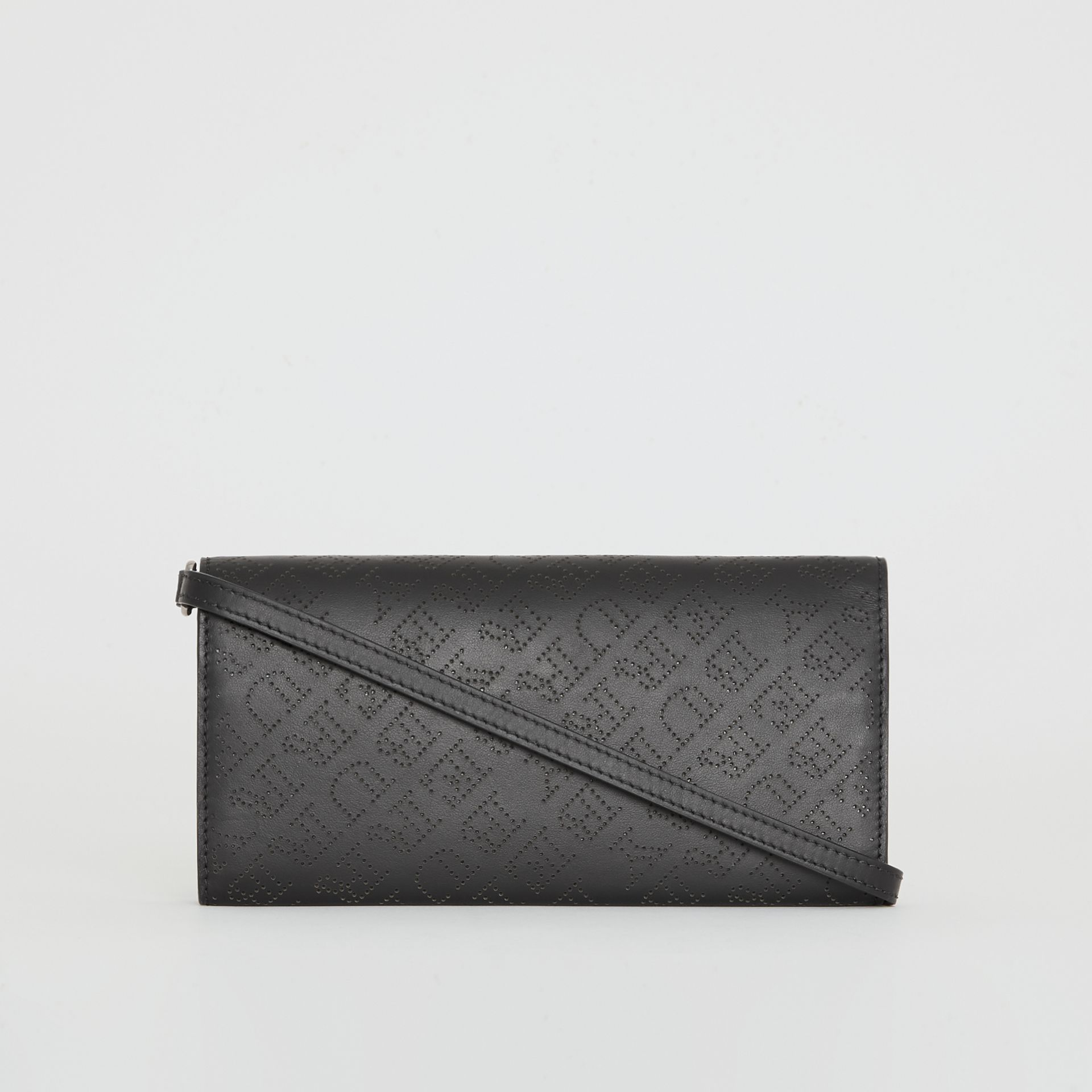 Perforated Logo Leather Wallet with Detachable Strap in Black - Women | Burberry Singapore - gallery image 7