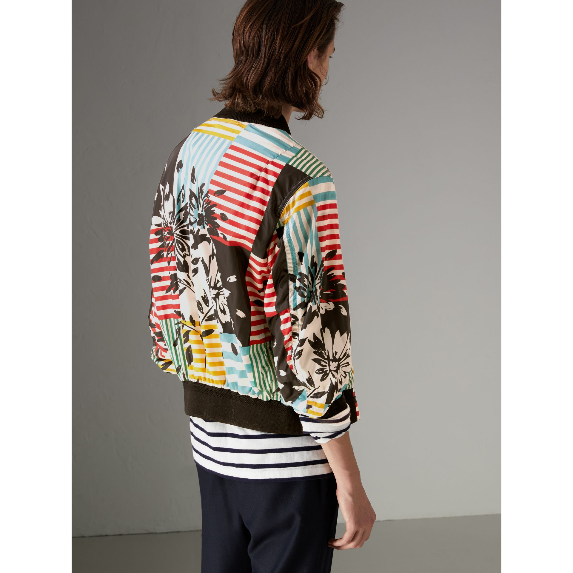 Floral Stripe Print Bomber Jacket in Steel Blue - Men | Burberry - gallery image 2