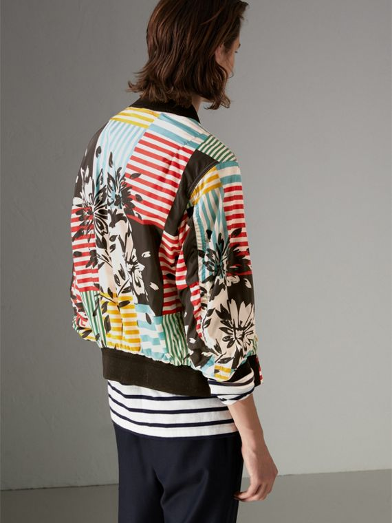 Floral Stripe Print Bomber Jacket in Steel Blue - Men | Burberry Hong Kong - cell image 2