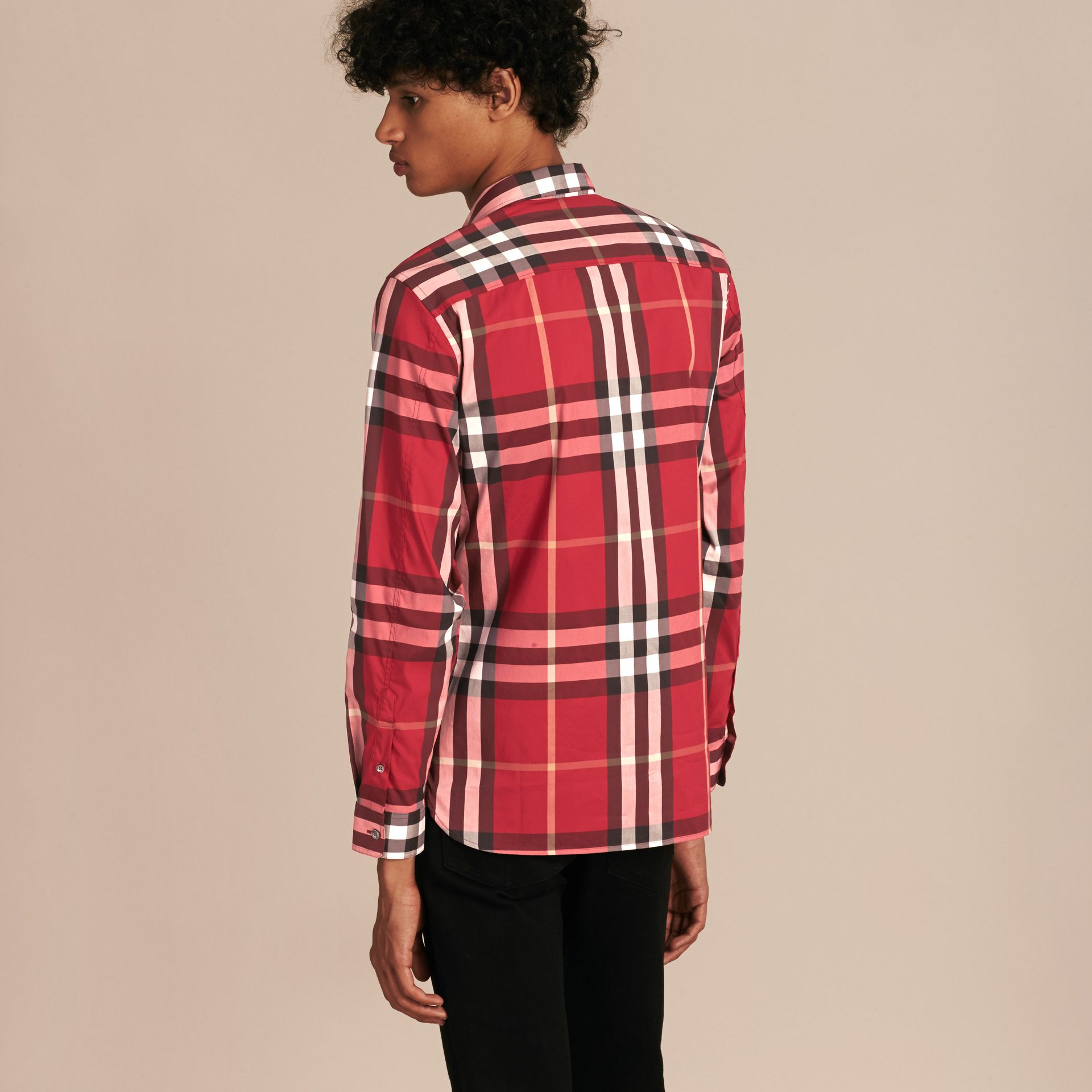 Check Stretch Cotton Shirt in Parade Red - Men | Burberry Canada - gallery image 3