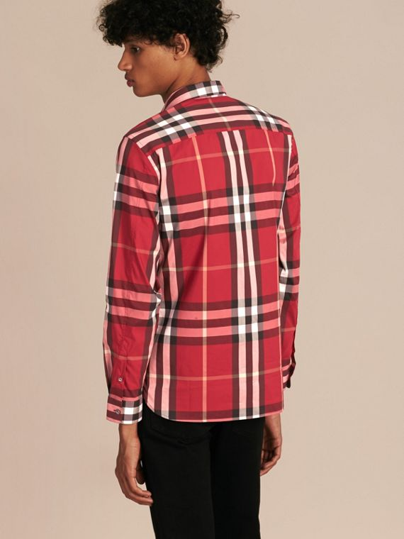 Check Stretch Cotton Shirt in Parade Red - Men | Burberry Canada - cell image 2