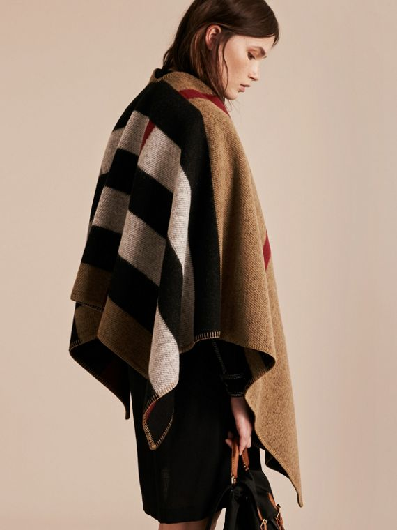 House check/black Check Wool and Cashmere Blanket Poncho - cell image 2