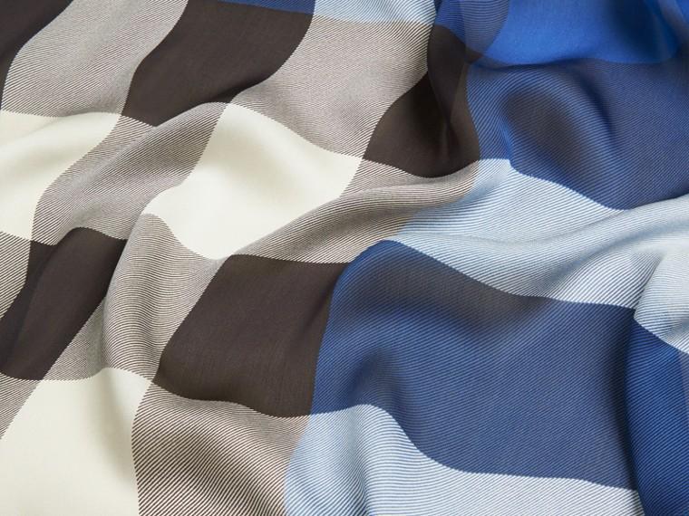 Cadet blue Lightweight Check Silk Scarf Cadet Blue - cell image 1