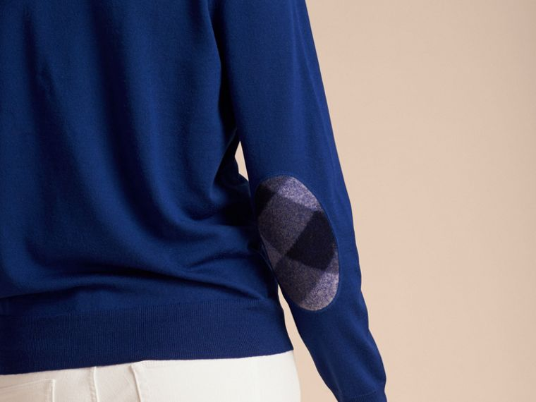 Bright cobalt Check Detail Merino Wool Crew Neck Sweater Bright Cobalt - cell image 4