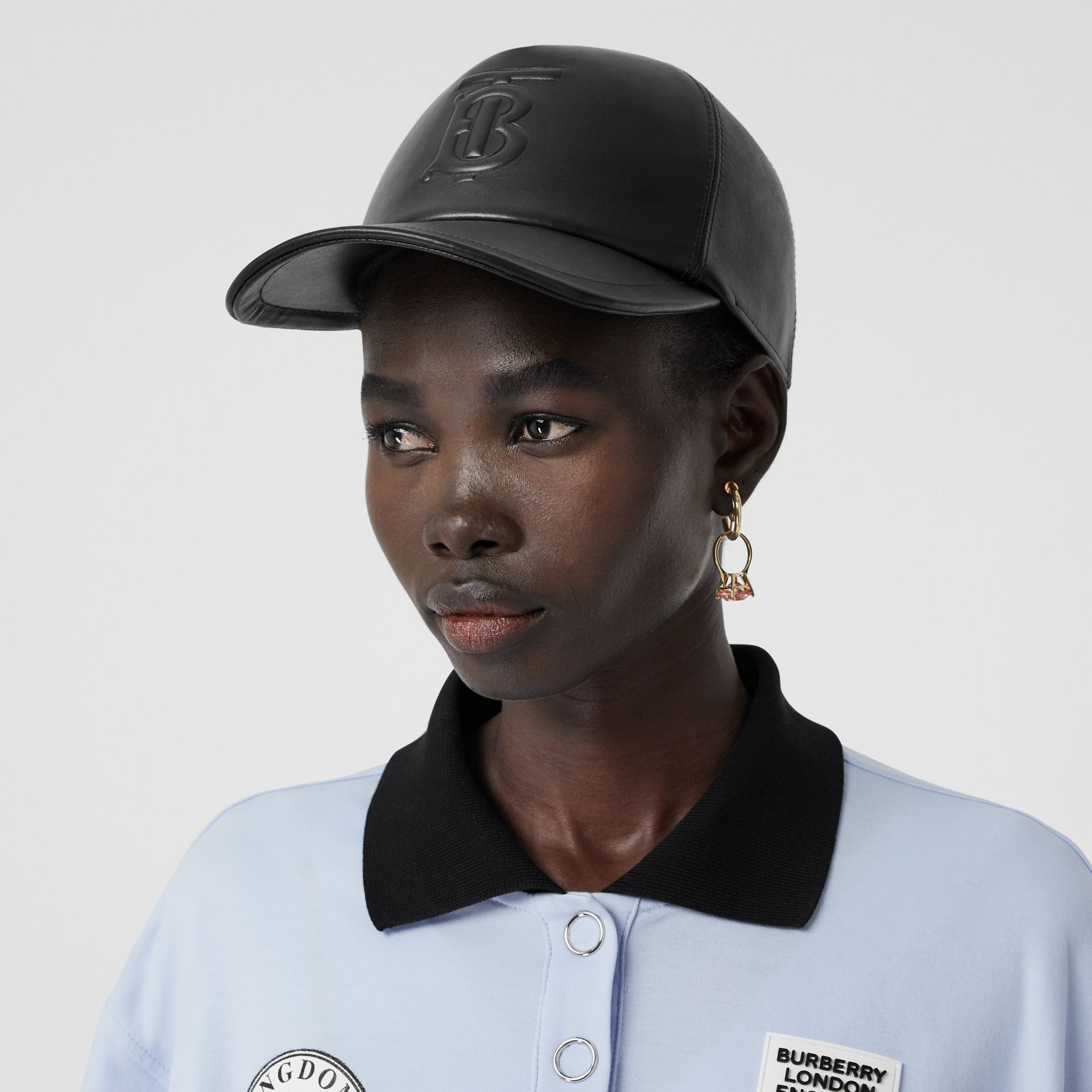 Monogram Motif Leather Baseball Cap in Black | Burberry Hong Kong S.A.R - gallery image 2