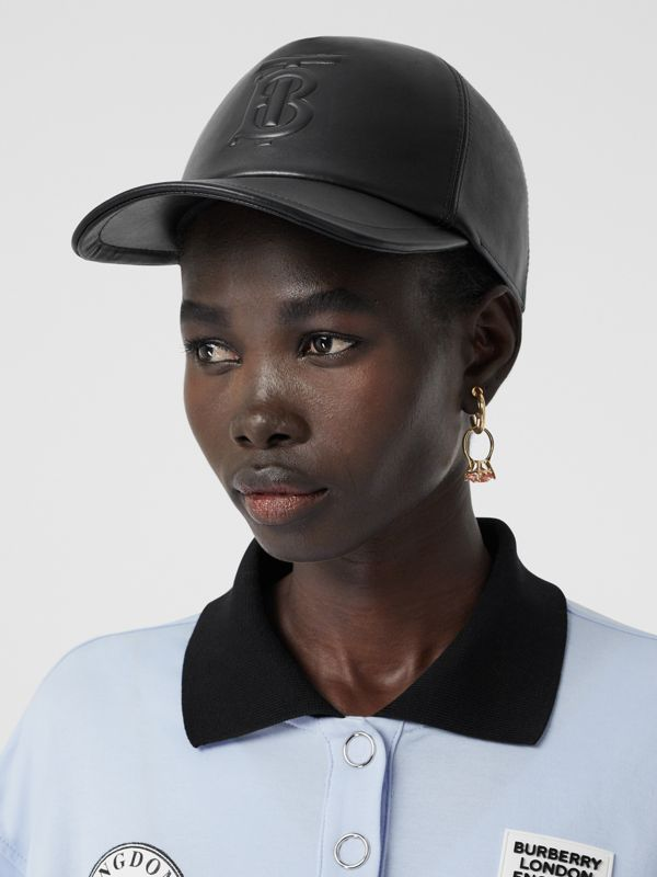 Monogram Motif Leather Baseball Cap in Black | Burberry - cell image 2