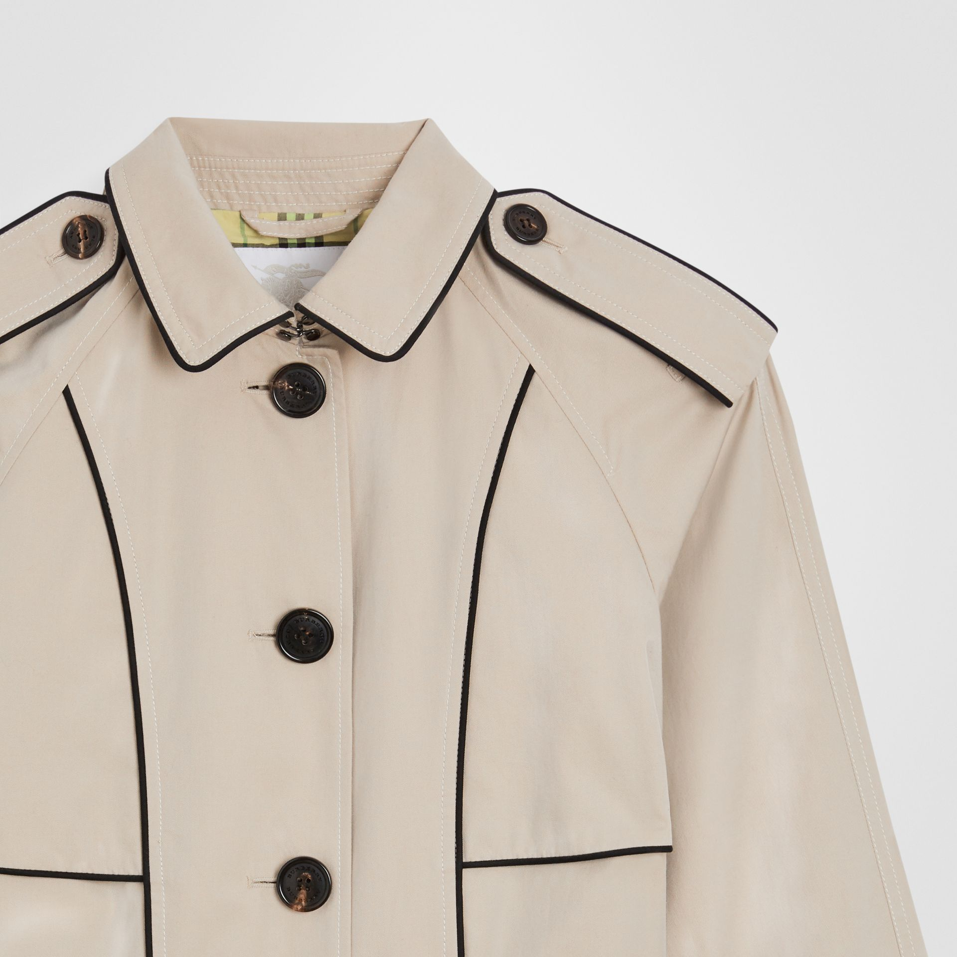 Piping Detail Tropical Gabardine Trench Coat in Stone | Burberry - gallery image 4