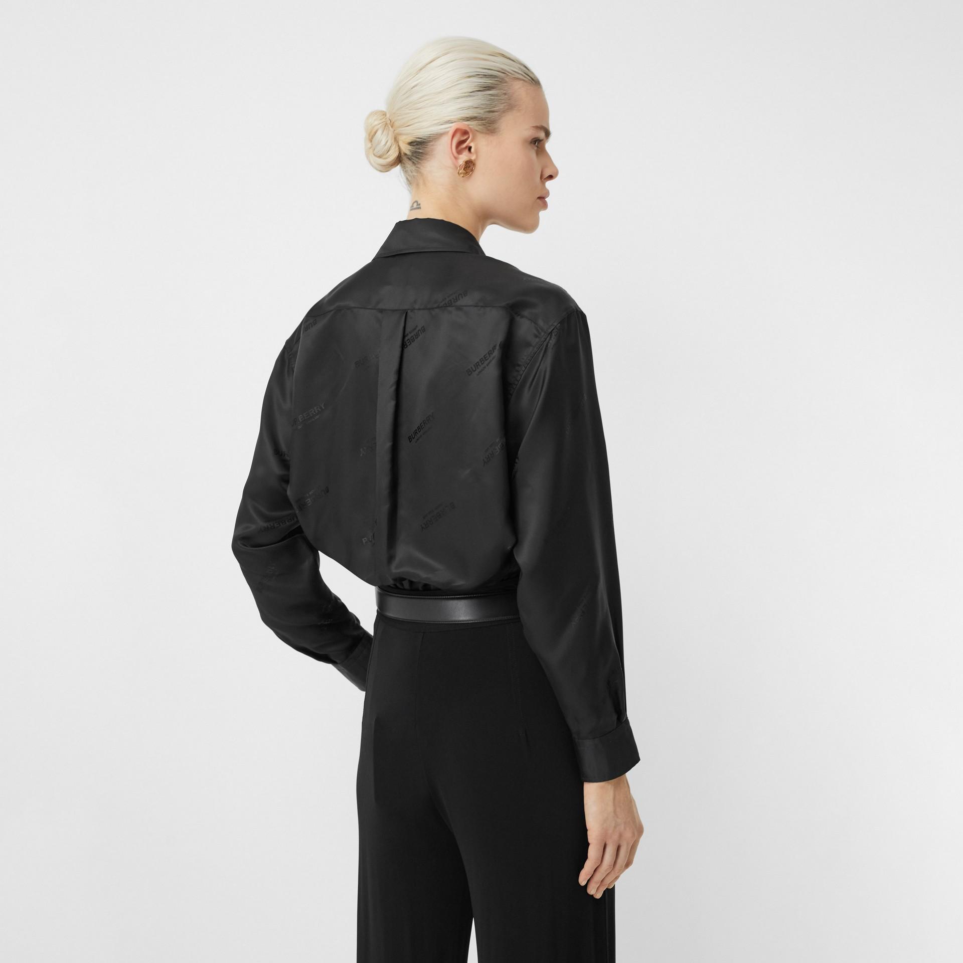 Logo Jacquard Shirt in Black - Women | Burberry - gallery image 2