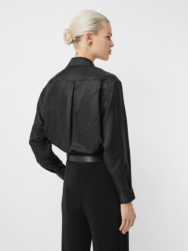 Logo Jacquard Shirt in Black - Women | Burberry Hong Kong S.A.R - cell image 2