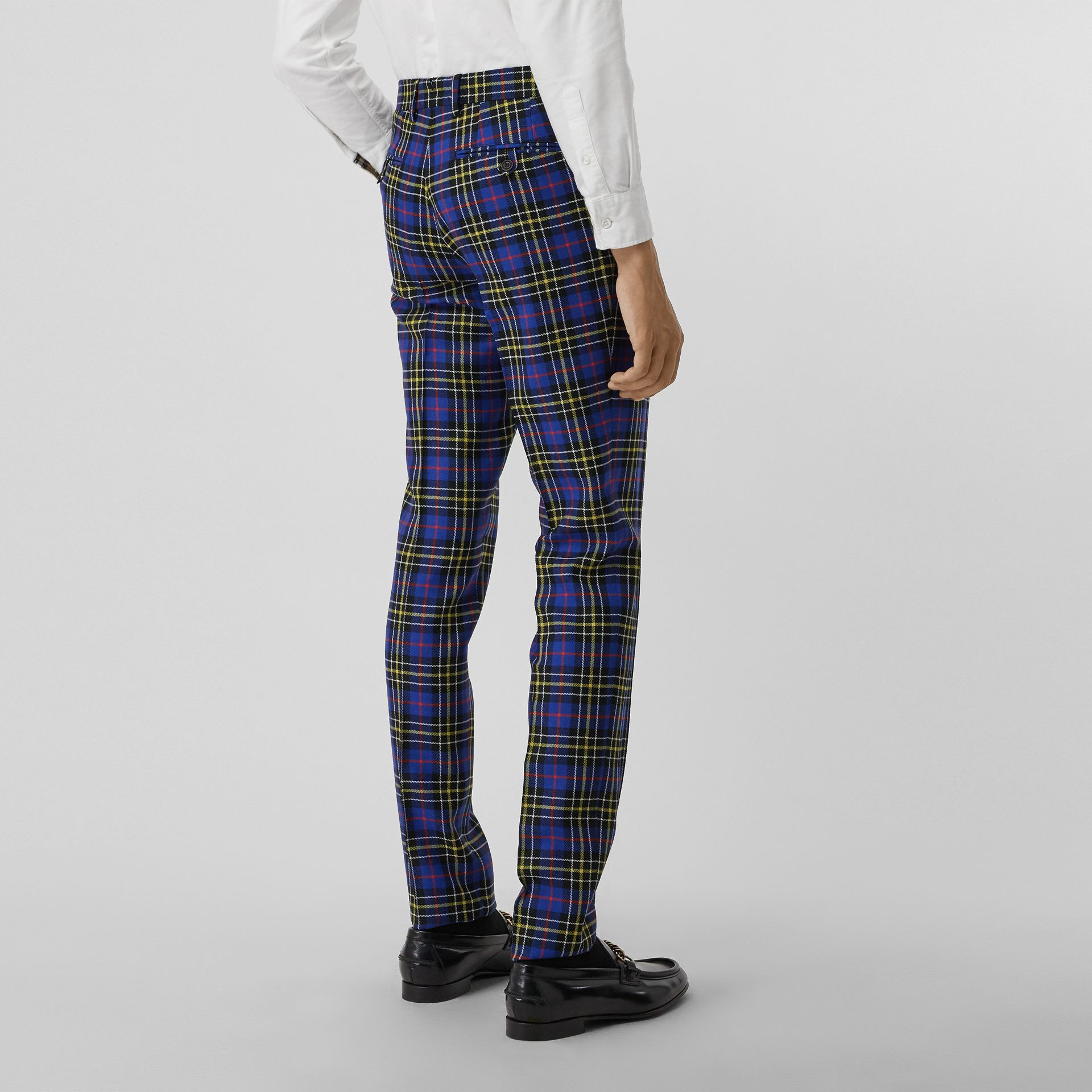Soho Fit Tartan Wool Tailored Trousers in Sapphire Blue - Men | Burberry - gallery image 2