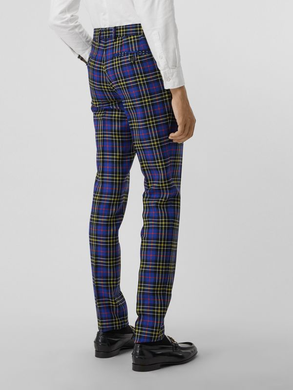 Soho Fit Tartan Wool Tailored Trousers in Sapphire Blue - Men | Burberry - cell image 2