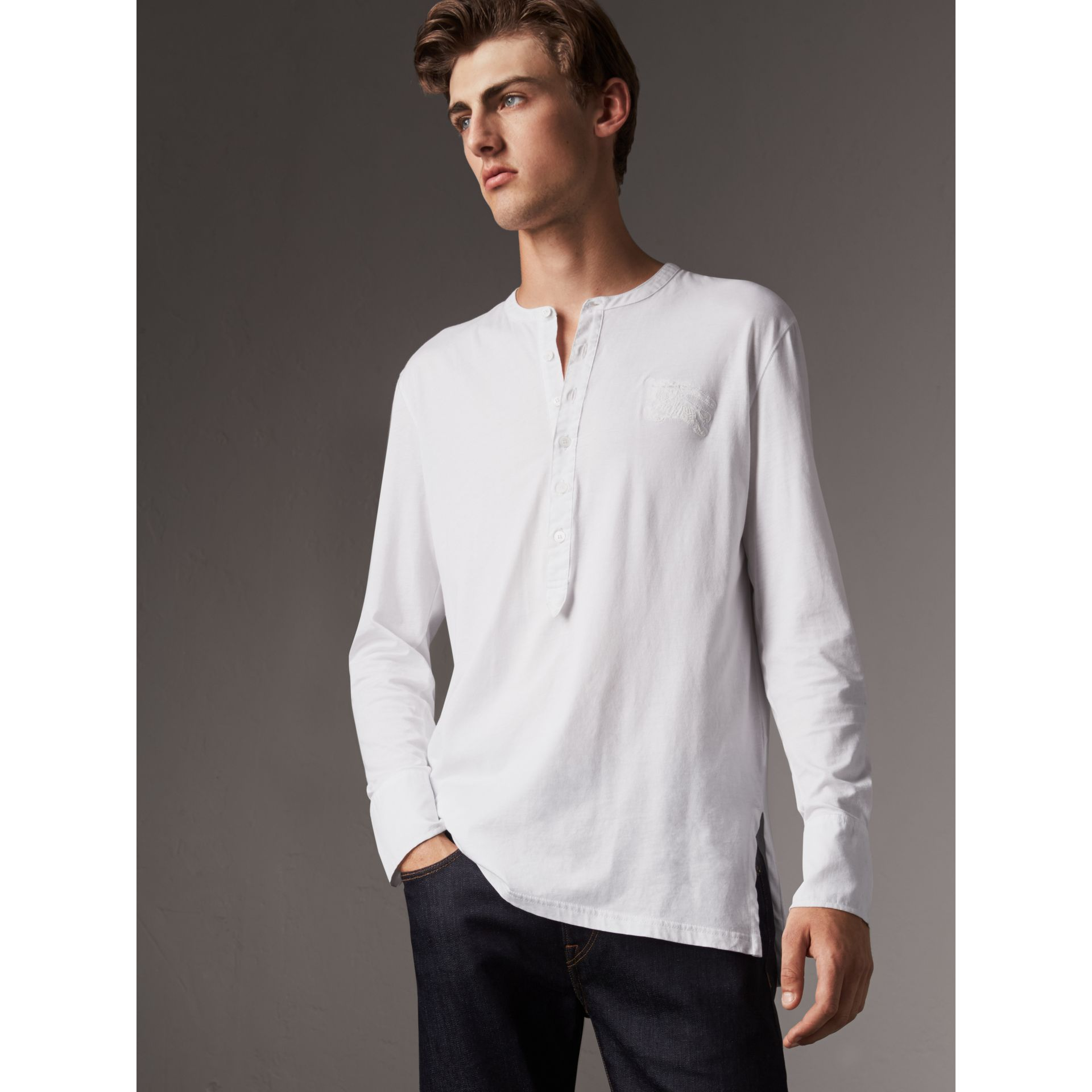 Cotton Henley Top in White - Men | Burberry - gallery image 1