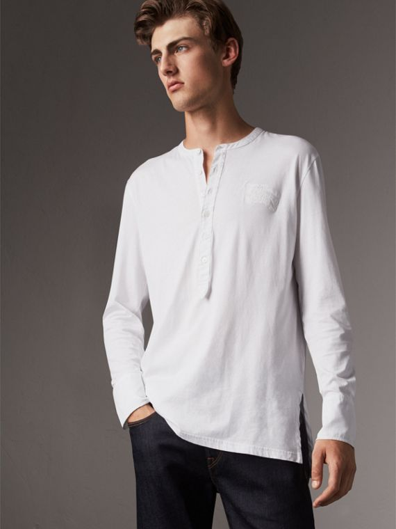 Cotton Henley Top in White