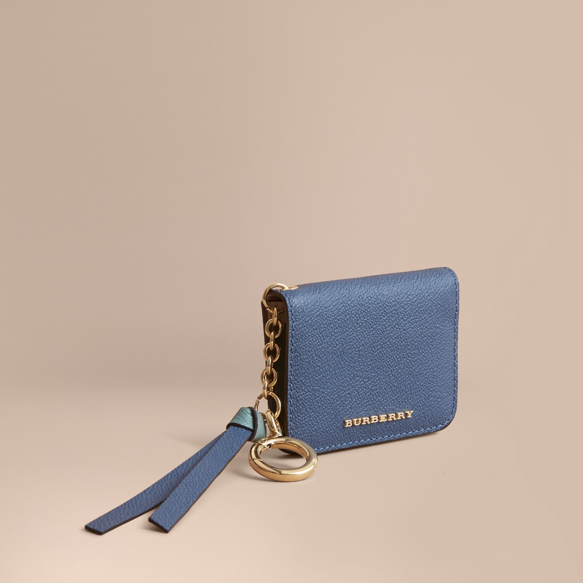 Leather and Haymarket Check ID Card Case Charm in Steel Blue/multi - Women | Burberry Hong Kong - gallery image 1