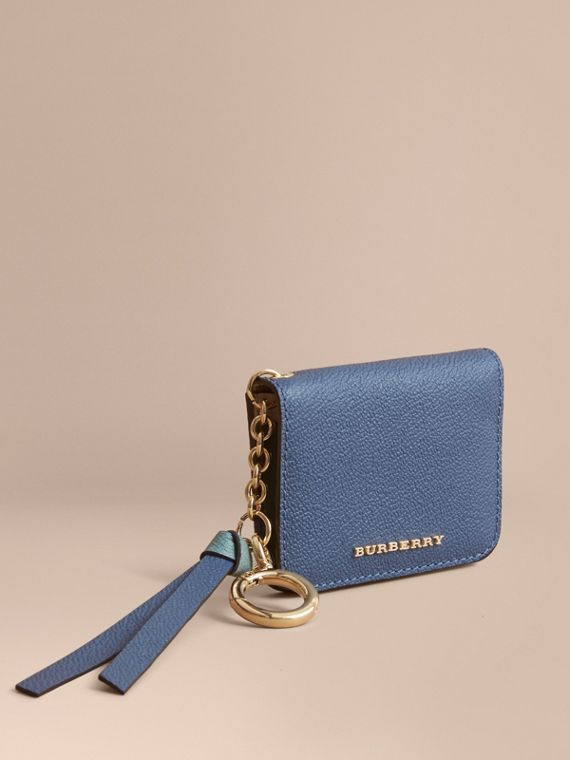 Leather and Haymarket Check ID Card Case Charm in Steel Blue/multi