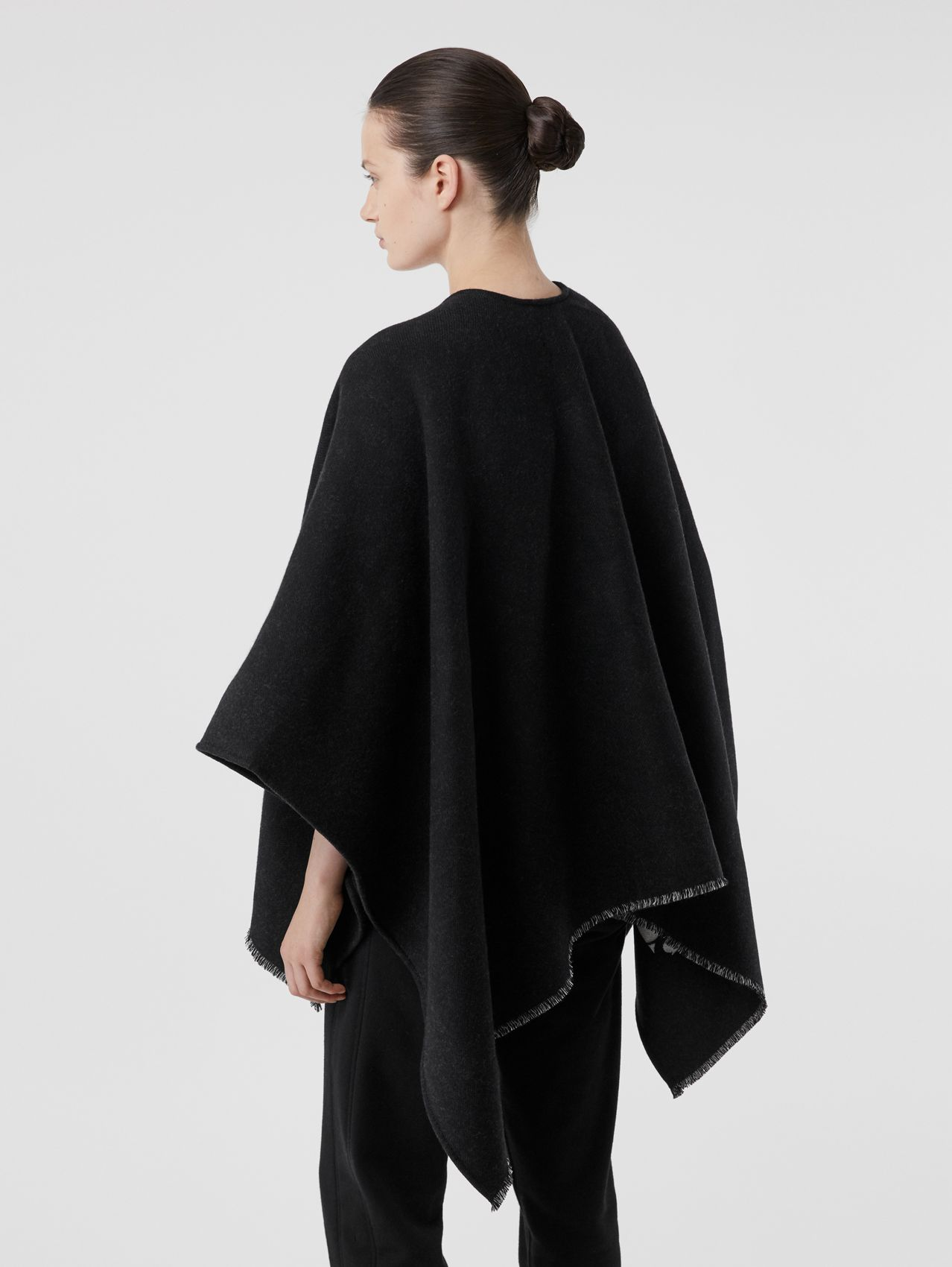Monogram Wool Jacquard Cape in Black