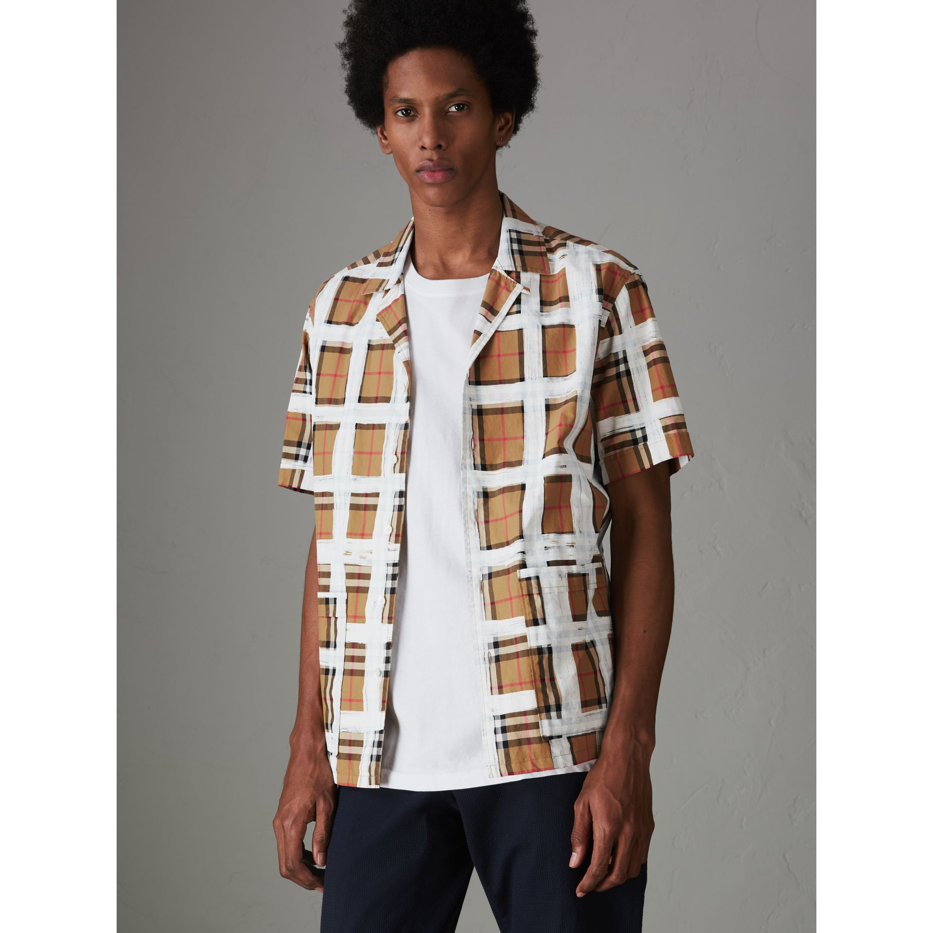 Short-sleeve Painted Vintage Check Cotton Shirt in Antique Yellow - Men | Burberry - gallery image 4