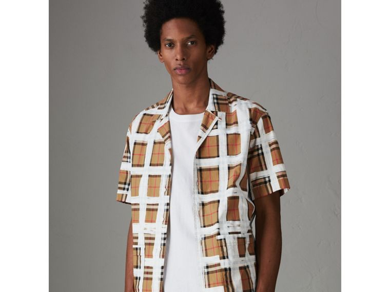 Short-sleeve Painted Vintage Check Cotton Shirt in Antique Yellow - Men | Burberry Australia - cell image 4
