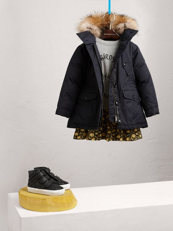 Detachable Raccoon Fur Trim Down-filled Hooded Puffer Coat in Navy