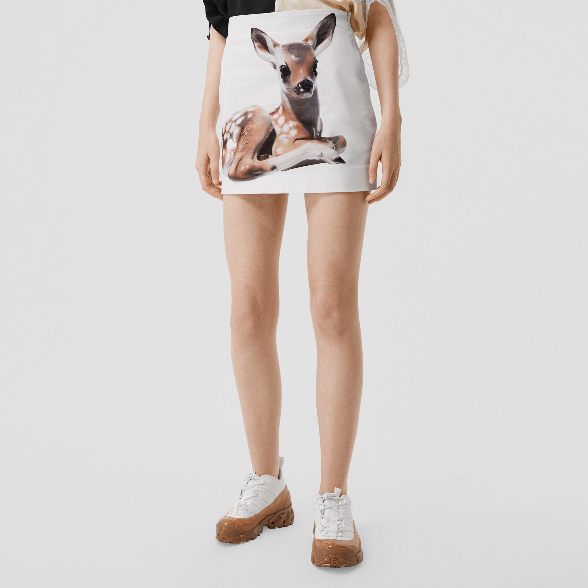 Deer Print Stretch Denim Mini Skirt in White - Women | Burberry - gallery image 6