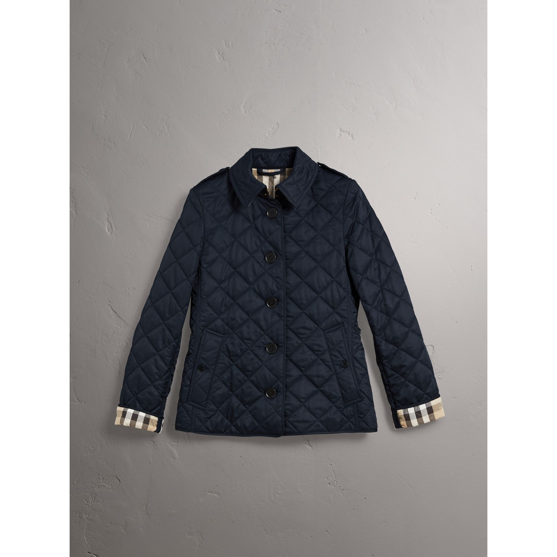 Diamond Quilted Jacket in Navy - Women | Burberry United States - gallery image 3