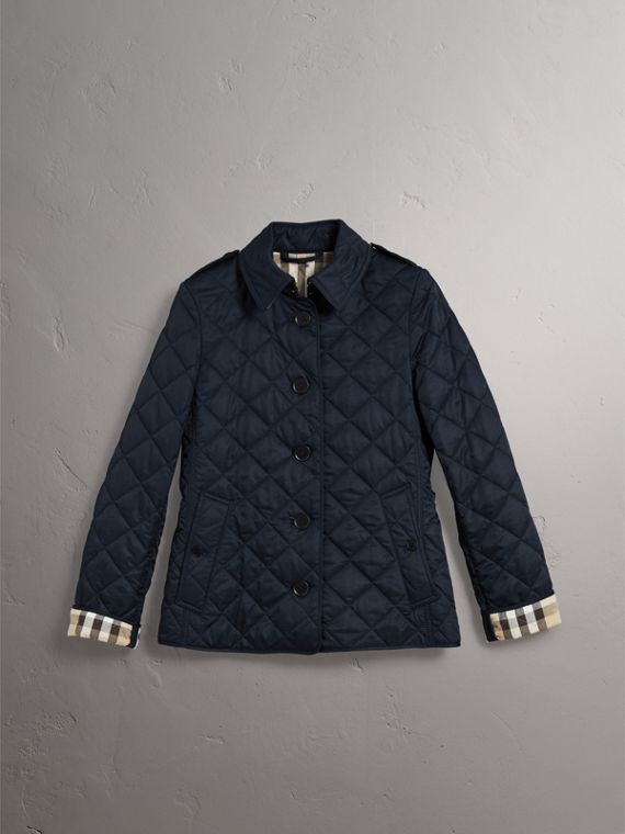 Diamond Quilted Jacket in Navy - Women | Burberry Singapore - cell image 3